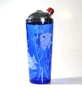 """shaker made by the hazel atlas glass company    this retro """"Angel fish"""" design from the late 30's on cobalt blue glass stands 10"""" h there are also cocktail glasses available in this pattern an original red bakelite stopper is included"""