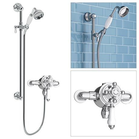 Trafalgar Traditional Dual Exposed Thermostatic Shower Valve inc Slider Rail Kit
