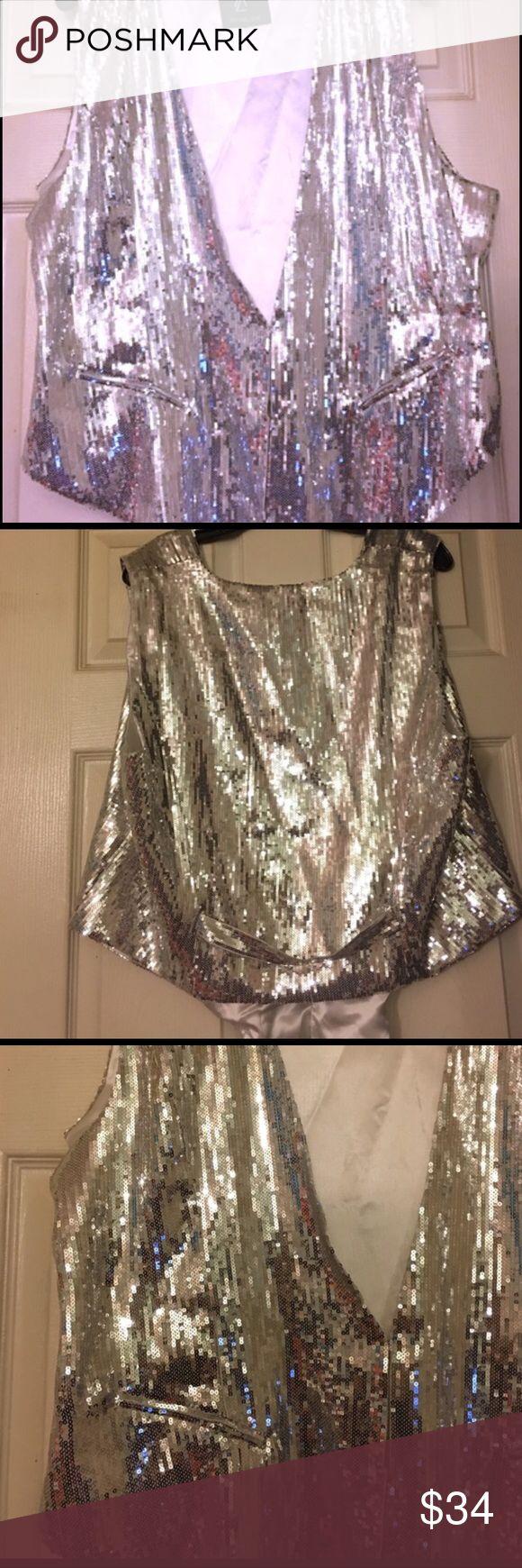 SEQUIN VEST TUXEDO STYLE by RACHEL ZOE! NWOT NWOT TUXEDO STYLE SEQUIN silver vest by Rachel Zoe! All you need is this perfect vest for your event! Accessories not necessary ! Rachel Zoe Jackets & Coats Vests