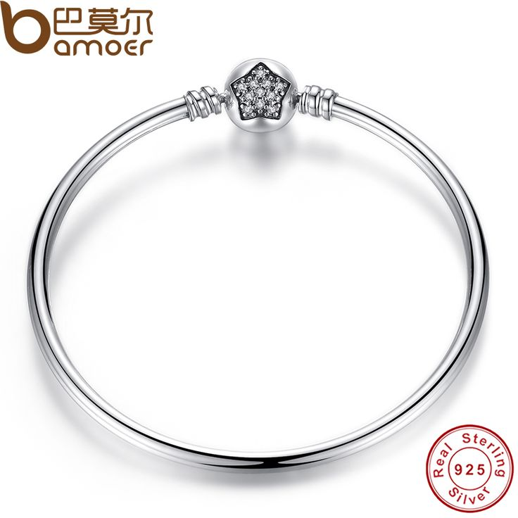 Aliexpress.com : Buy BAMOER Authentic 100% 925 Sterling Silver Snake Chain Bangle & Bracelet Pave Star Cubic Zirconia CZ Jewelry PAS901 from Reliable jewelry stone suppliers on BAMOER Jewelry  | Alibaba Group
