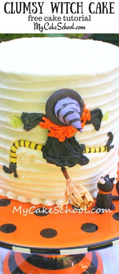 This Clumsy Witch Cake Tutorial is SO easy and fun! Perfect for Halloween Parties! Free Cake Tutorial by MyCakeSchool.com #Halloween #HalloweenParty #CakeTutorial #freecaketutorial #witchcake