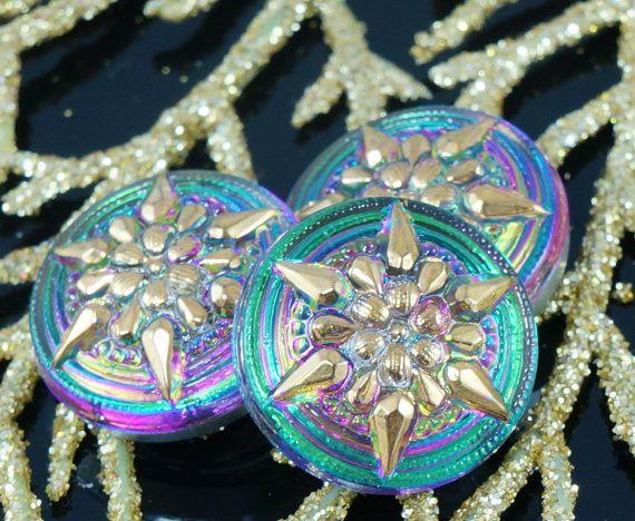 Handmade Czech Glass Buttons Small Gold by CzechBeadsExclusive