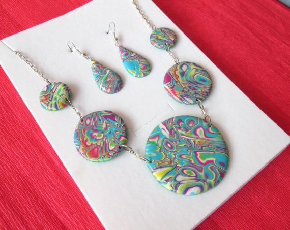 polymer clay jewelry polymer clay gift for her fashion christmas necklace  by FloralFantasyDreams on Etsy