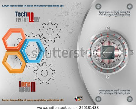 Abstract technology background; Three dimensions hexagons on scratched metallic background and chip connected at circular metallic device nailed with screws to steel board.
