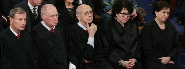 Five members of the Supreme Court (Chief Justice John Roberts and associate justices Anthony Kennedy, Stephen Breyer, Sonia Sotomayor and Elena Kagan) watch President Donald Trump speak to a joint session of Congress.  (Don't they look delighted?)