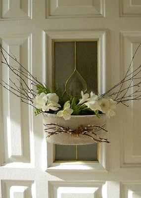 homework: Etceteras: spring door décor (Use Sarah's Wedding TIns?)