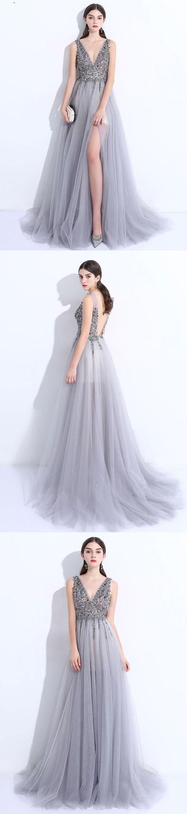 2018 Long Prom Dress A Line Custom Made Unique Cheap Silver Prom Dress Vb964 Backless Prom Dresses Silver Prom Dress Prom Dresses [ 2600 x 600 Pixel ]