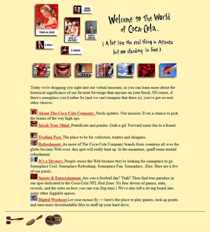 Coca Cola website in 1996