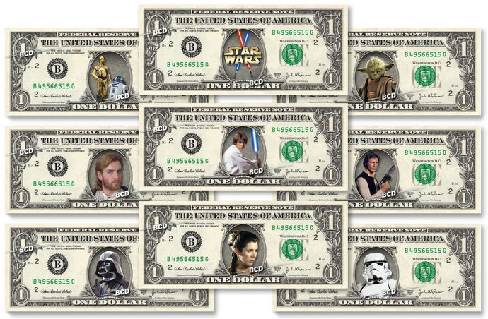 STAR WARS 9-set REAL Dollar Bill Collection – Money Cash Gift