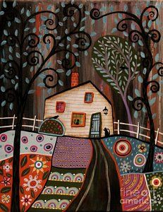 Folk Art Abstract Painting - I See You by Karla Gerard