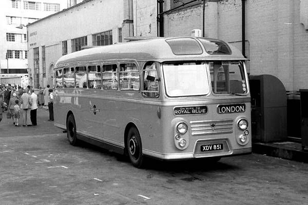 Devon General (Grey Cars) TCR851, XDV851, a Willowbrook C41F bodied AEC MU3RV Reliance new in 1958 seen at Victoria Coach Station.