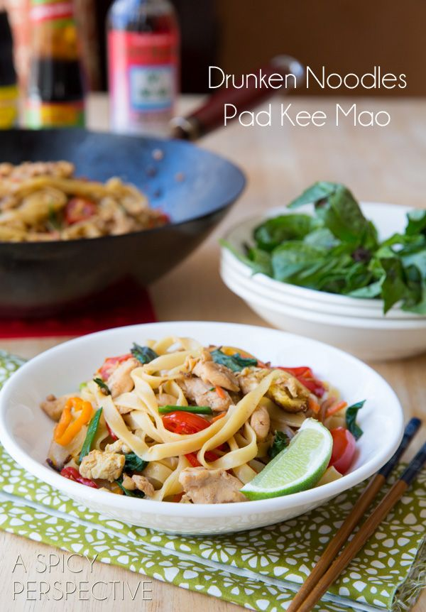 Thai Drunken Noodles - pretty similar to how I make mine except they're missing the key ingredient at the end - spicy Thai Chili paste (aka Sambal Olek)!!