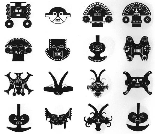 """""""Calima"""" culture artefact shapes (Colombia). Who ever made these is thinkin' how I have been thinkin'."""