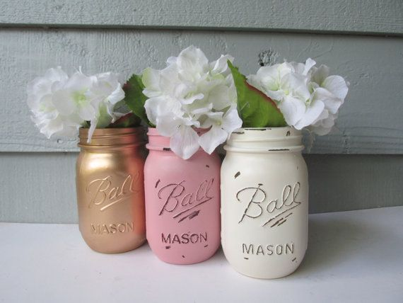 Painted and Distressed Ball Mason Jars Gold by theretroredhead, $21.00