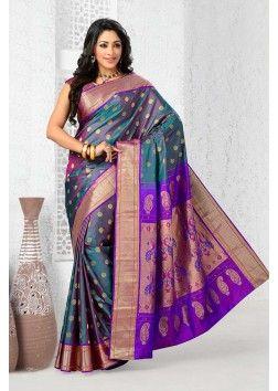 Pure silk purple magnificent saree with purple & gold border -SR10281