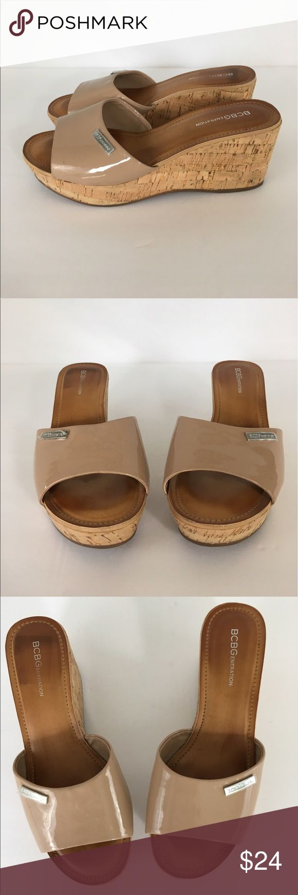 """BCBGeneration SZ 7.5 Tan Patent Leather Cork Wedge BCBGeneration SZ 7.5 Tan Patent Leather Cork Wedge. Excellent condition - only worn once!  Measurements:  Heel to Toe:  9.5"""" 2"""" at arch. Wedge: 3"""". This would match so many summer looks! Shoes Wedges"""