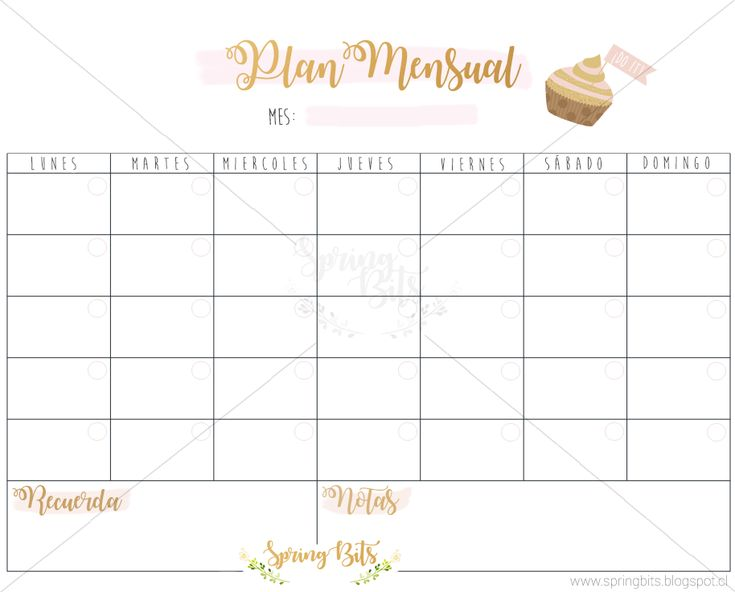 Print 'Plan Mensual', perfecto para organizar tu mes, este nuevo año que se viene 2018. Descarga gratis en mi blog.