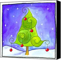 christmas canvas art | Christmas Tree Painting Canvas Prints - Christmas Tree Canvas Print by ...