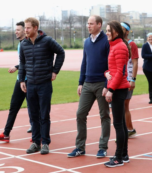 Catherine, Duchess of Cambridge, Prince William, Duke of Cambridge and Prince Harry join Team Heads Together at a London Marathon Training Day at the Queen Elizabeth Olympic Park on February 5, 2017 in London.