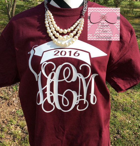 Monogram Class of 2016 or 2017 T-Shirt. by ThreeTeesBoutique