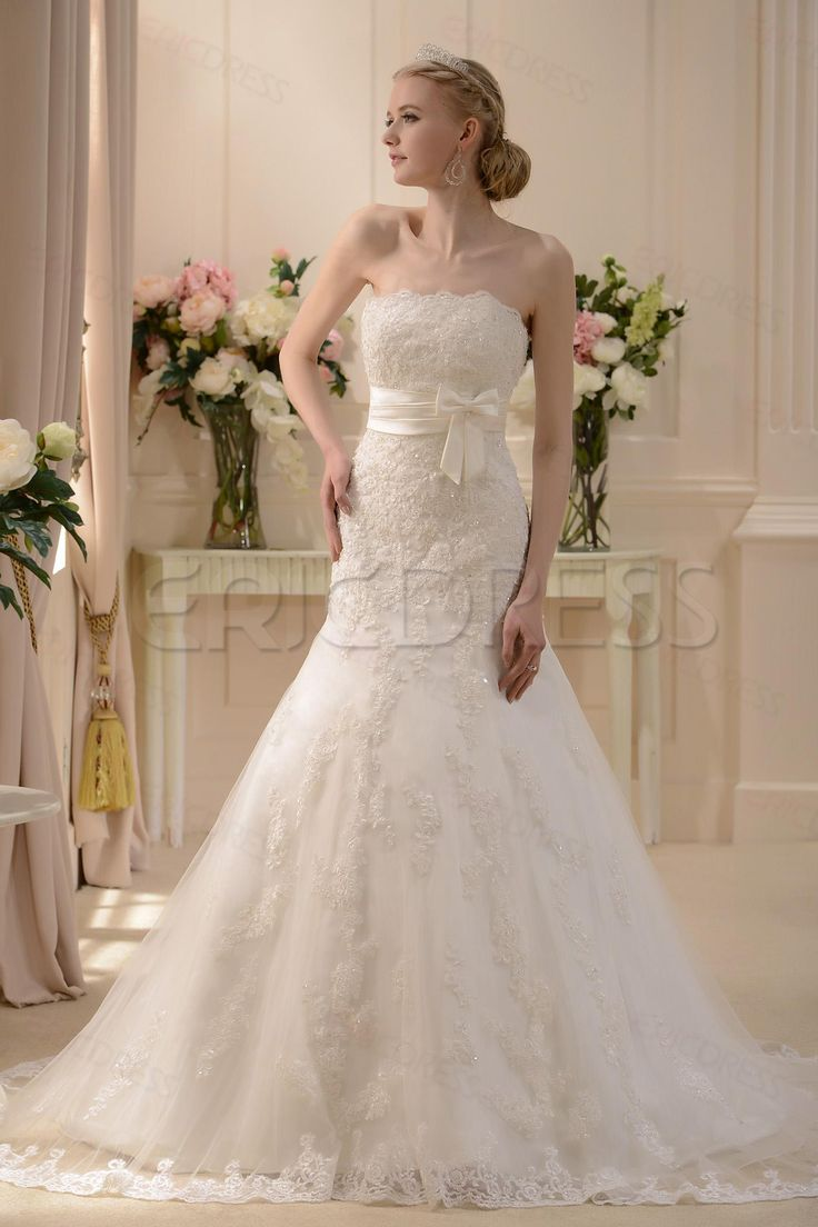 Pretty Slight Trumpet/Mermaid Strapless Floor-length Court Wedding Dress 1