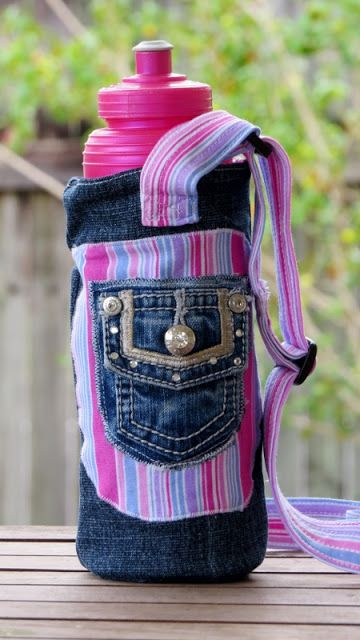 Water Bottle Carrier with adjustable strap - a simple sewing tutorial. I used…