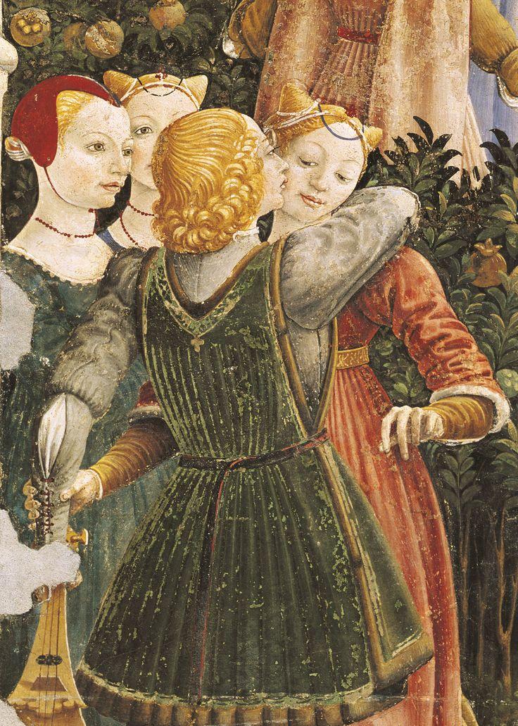 Francesco del Cossa, Le Mois d'Avril, fresque (détail), 1469-1470. Salon des Mois, palais Schifanoia, Ferrare.