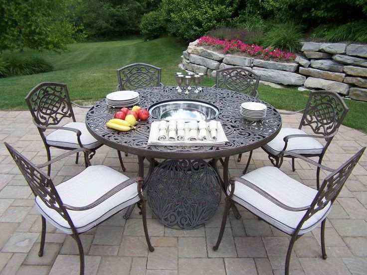 Outdoor Ice Bucket Table With Ceramic Plates ~ Http://monpts.com/