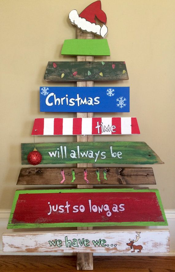 Hand Painted Grinch Christmas Tree Reclaimed Wood by TheTrashySide