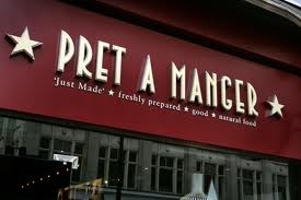 Pret A Manger is a good place to grab a sandwich or salad.  Found everywhere.