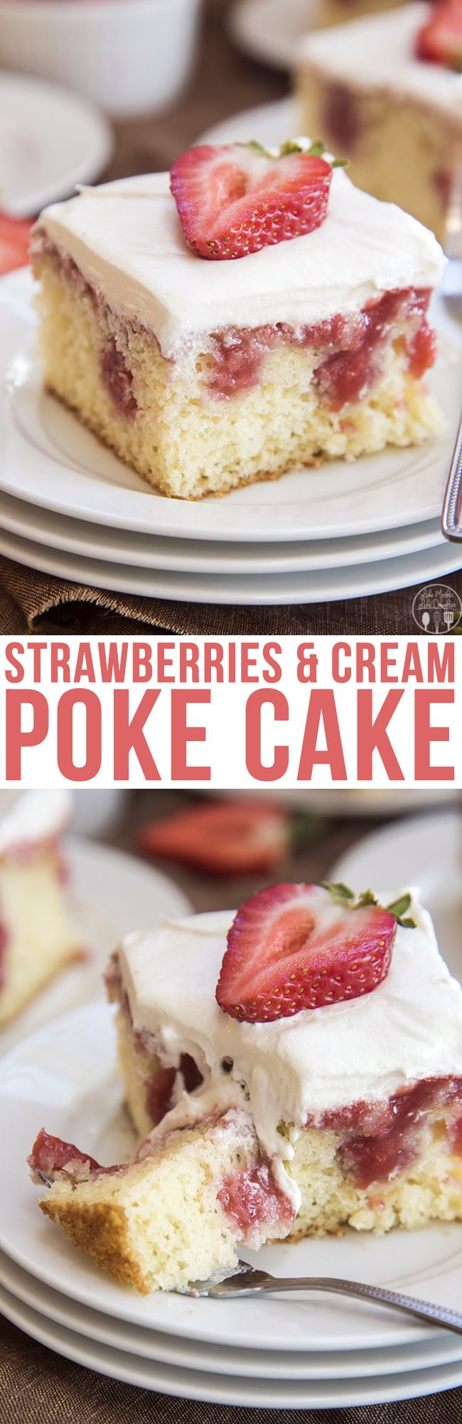 Strawberries and Cream Poke Cake - This poke cake starts with a cake mix, filled with a fresh and sweet homemade strawberry sauce and topped with whipped cream. Its perfect for an easy, yet elegant, and delicious dessert that everyone will love!