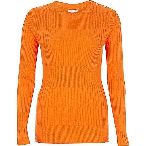Oranje top met knoopdetail - Gebreide tops - gebreide kleding - dames