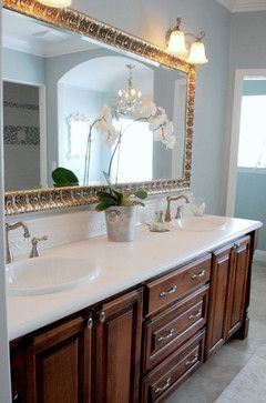 Interior Design, Traditional Bathroom With Elegant Brown Wooden Vanity With  White Cultured Marble Countertops Also Elegant Mirror Design With  Tremendous ...