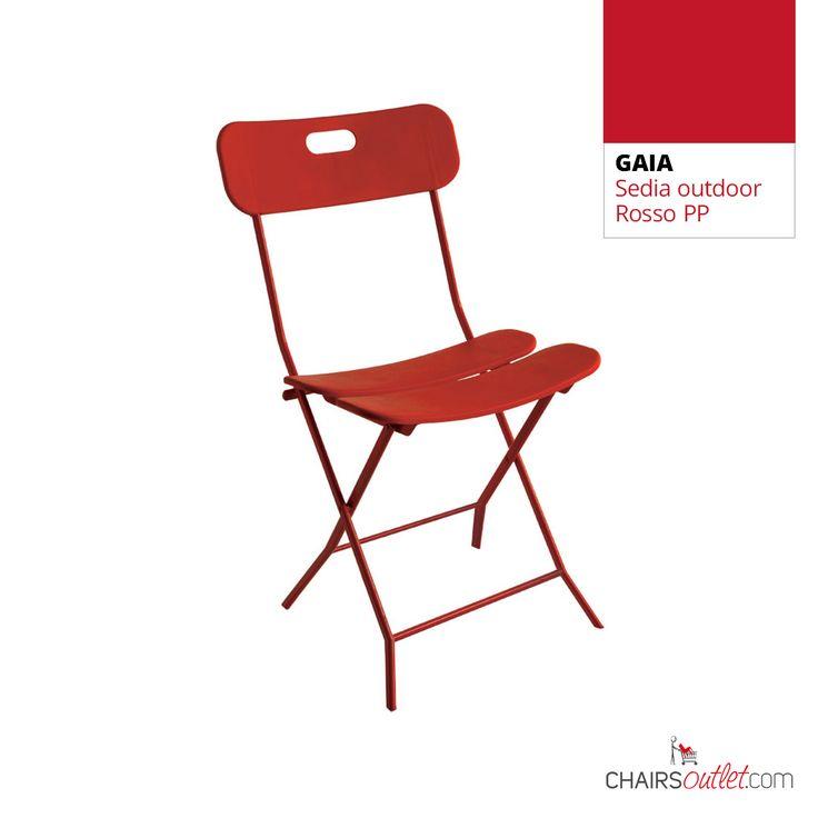 € 33,00 GAIA #sedia salvaspazio in metallo e plastica, pieghevole, in #offerta prezzo scontata del 50% solo su www.chairsoutlet.com #sedie #rosse #giardino #cucina #stile #saldi #offerte #outlet