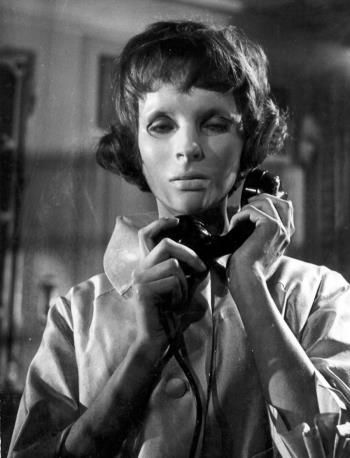 Eyes Without A Face - Georges Franju. Creepy mask. Telephone. Uncanny and horror. Speaking without moving lips.