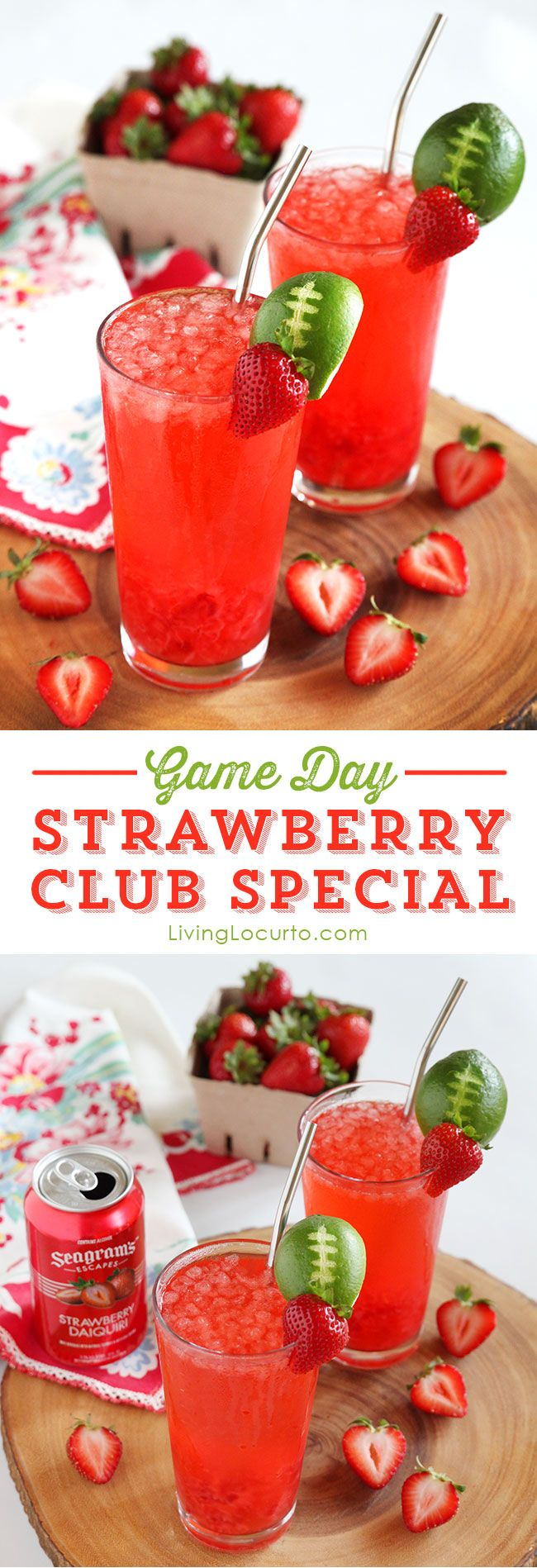 Strawberry Club Special Cocktail is a fresh and fruity drink recipe to serve at your next party. A perfect game day drink with a lime football garnish! @livinglocurto #colorfulkickoff