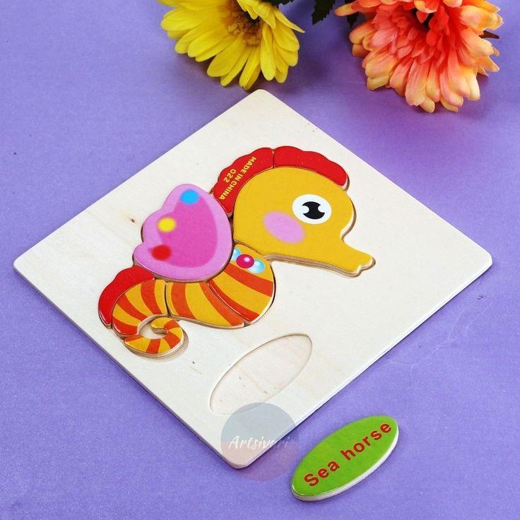 NEW Wooden Blocks Animals Cartoon Puzzle Kids Baby Educational Vocabulary Toys | eBay