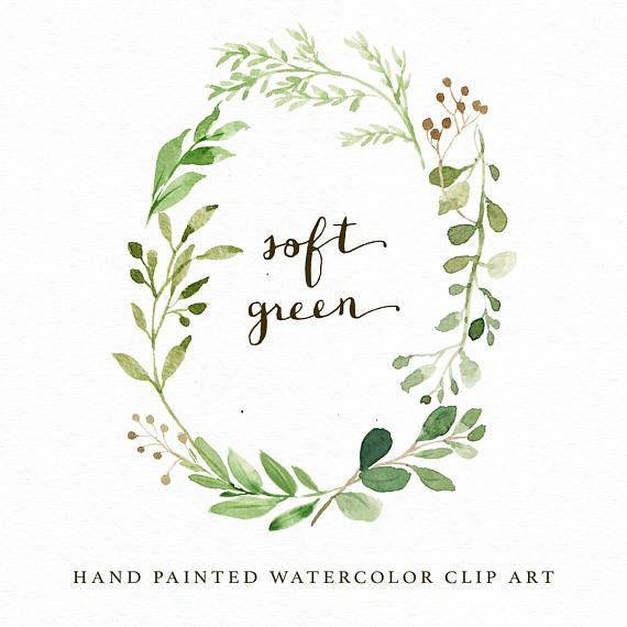 Watercolor Oval Leaf Wreath Clip Art Soft Green Small Set