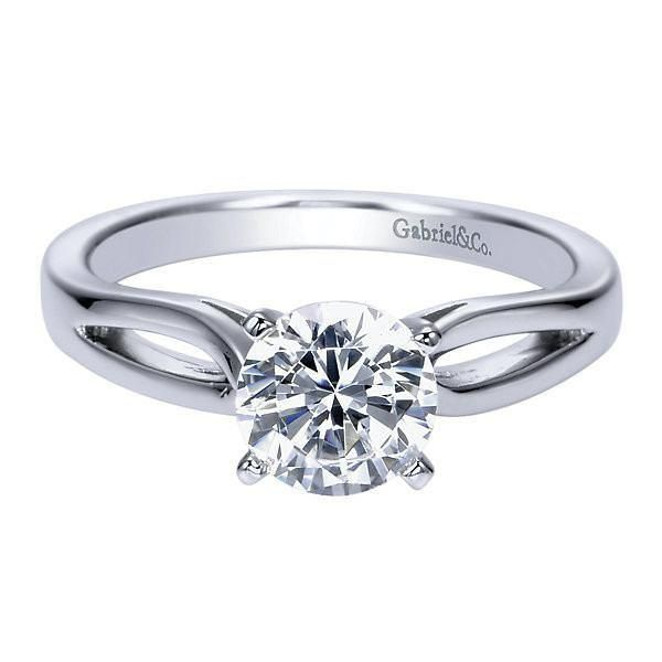 Solitaire Round Diamond Engagement Ring with Rounded Split Shank