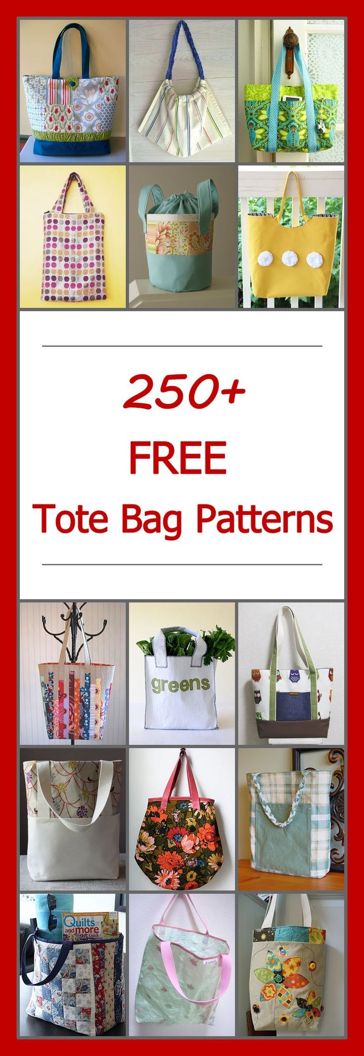 Lots of free tote bag patterns. DIY tote bag sewing projects & tutorials. Many simple and easy, basic designs. Large and small bags, zippered, quilted, lined, canvas, patchwork, and more. #totebagpattern #totebagpatterns