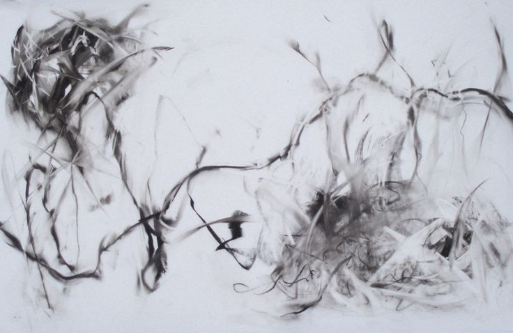 A gorgeous example of how easy it is to move media around on mylar. Florence Moonan, Thicket (Movement Study #1), charcoal on mylar. ©2010.