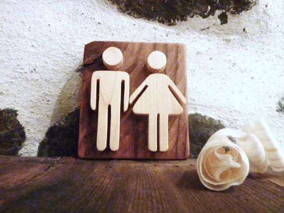 Wooden sign bathroom sign restroom sign rustic by Melcreationsbois