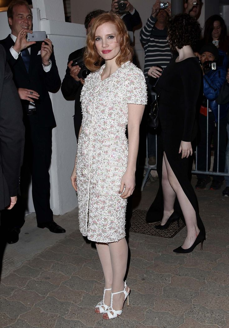 Jessica Chastain in Chanel and Francesco Russo shoes | Cannes Film Festival 2016