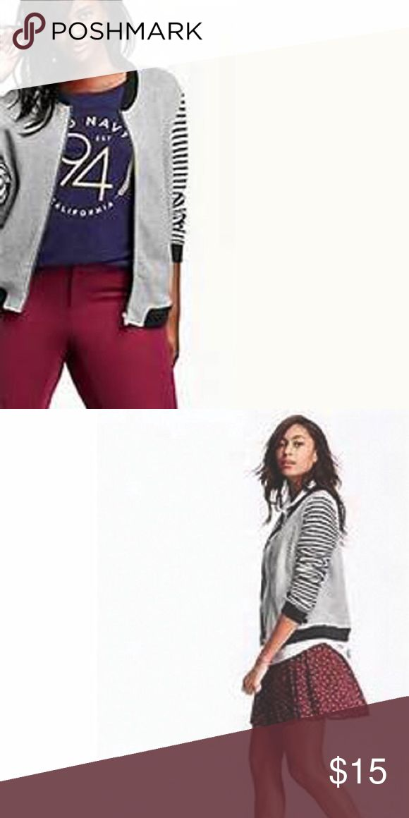 Old Navy Fleece Bomber Jacket The perfect Fall jacket! With this Old Navy gray fleece bomber jacket you can be comfy and stylish at the same time! Jacket is gray overall with black trim and black and gray sleeves. 100% cotton, relaxed fit. Old Navy Jackets & Coats