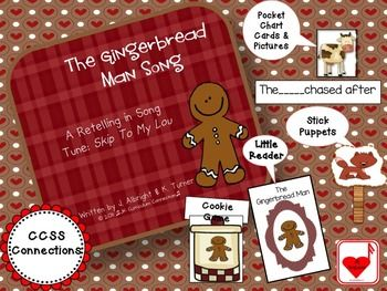 "Gingerbread Man Song - Shared Reading Singable {CCSS} This book about the Gingerbread Man is a COMPLETE RETELLING of the traditional Gingerbread Man story but in SONG! The children will LOVE singing this singable, especially the familiar chorus ""Run, run as fast as you can!"