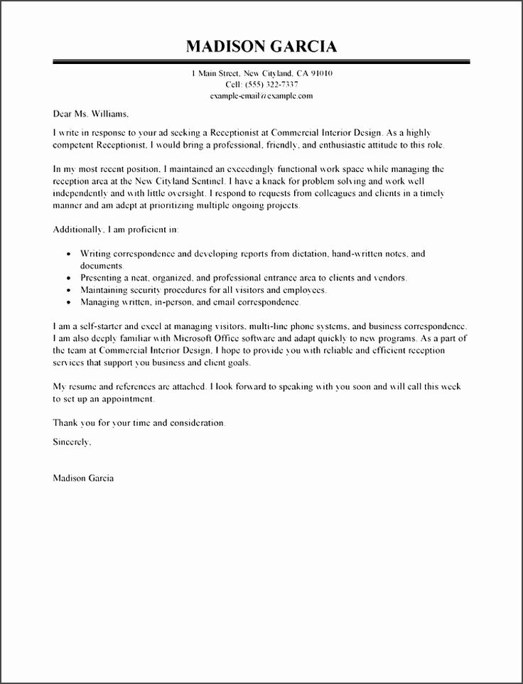 13 best Format On How to Write An Application Letter for A - professional receptionist sample resume