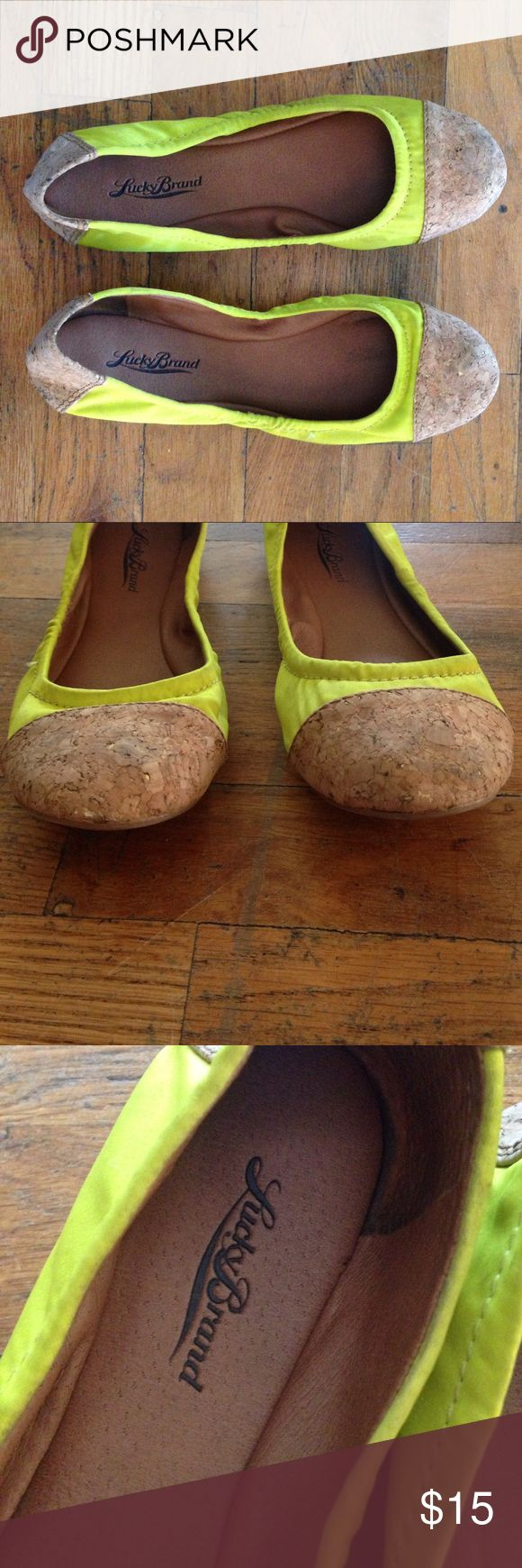 Lucky Brand Neon Yellow/Cork Flats 8.5 Some staining, but no damage, holes or major flaws. Funky and comfortable. Lucky Brand Shoes Flats & Loafers