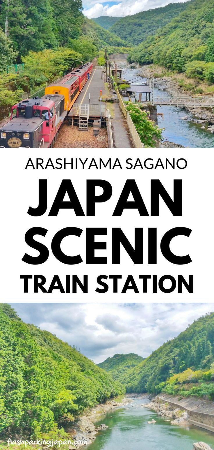 Travel Japan. Japan train at Hozukyo torokko station in Kyoto. Sagano scenic rai…