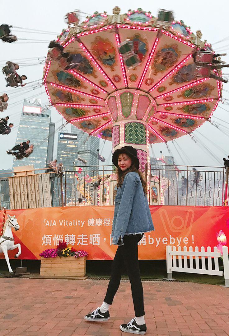 Denim Jacket with  Black Pants and Bucket Hat Fashion of Park Sora