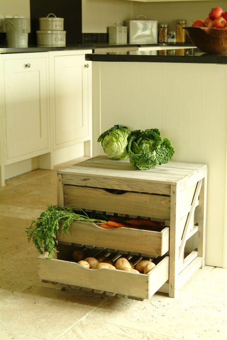 3 Drawer Pine Vegetable Storage Unit Garden Trading